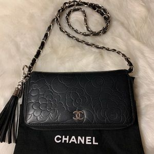 Chanel Flower Black Zippered Wallet on Chain